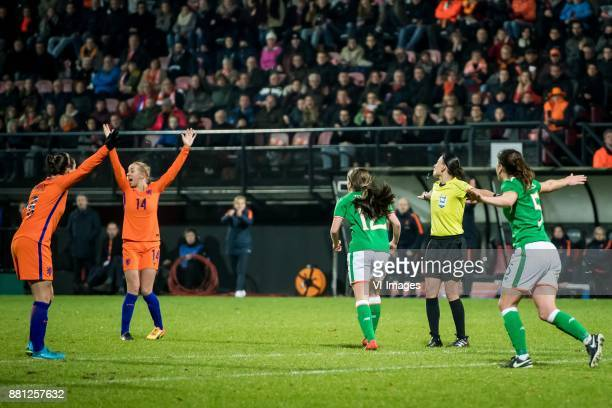 Sherida Spitse of the Netherlands Jackie Groenen of The Netherlands Coach Sarina GlotzbachWiegman of the Netherlands Tyler Toland of Ireland referee...