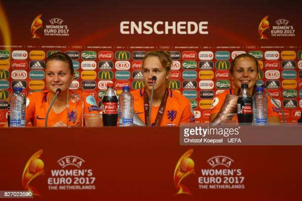 Sherida Spitse of the Netherlands presents the Carlsberger Player of the match award Vivianne Miedema presents the UEFA Women's EURO 2017 adidas...