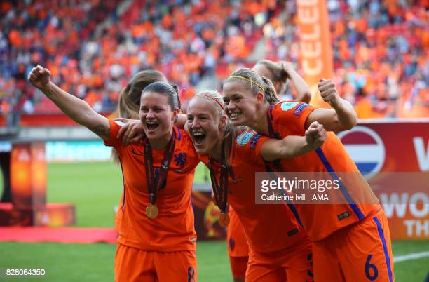 Sherida Spitse Stefanie Van Der Gragt and Anouk Dekker of Netherlands Women celebrate during the UEFA Women's Euro 2017 final match between Denmark...