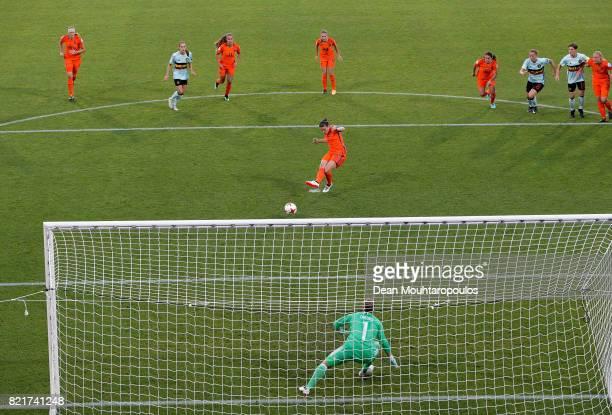 Sherida Spitseof Netherlands scores the opening goal by penalty kick during the Group A match between Belgium and Netherlands during the UEFA Women's...