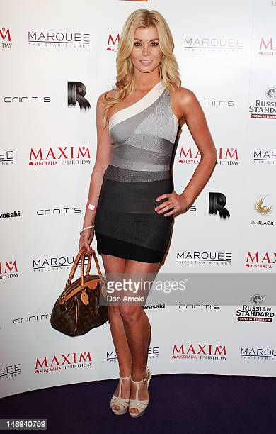 Sheridan Fisher walks the red carpet at Maxim Magazine's 1st birthday party on July 20 2012 in Sydney Australia Maxim Magazine launched its first...