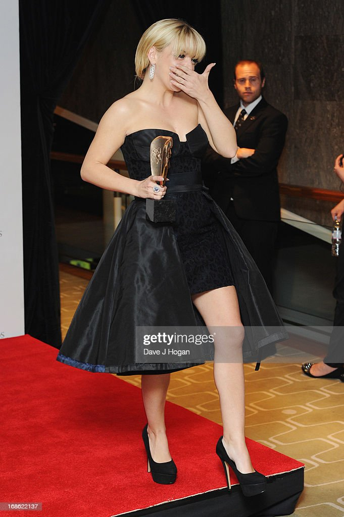 Sheridan Smith poses with her BEst Actress Award in front of the winners boards at the BAFTA TV Awards 2013 at The Royal Festival Hall on May 12, 2013 in London, England.
