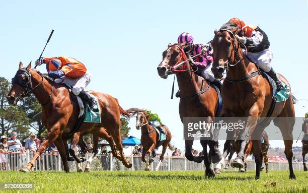 Sheriff John Stone ridden by Linda Meech wins the AME Systems BM70 Handicap at Ararat Racecourse on November 12 2017 in Ararat Australia
