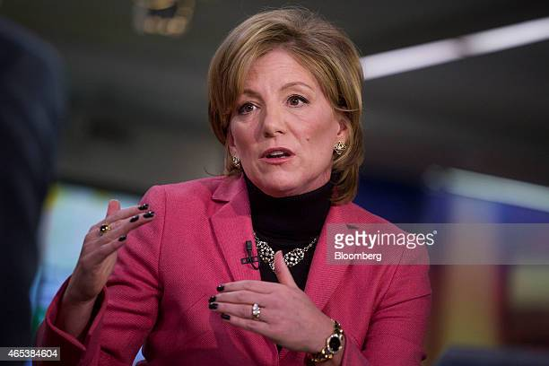Sherilyn McCoy chief executive officer of Avon Products Inc speaks during a Bloomberg Television interview in New York US on Friday March 6 2015...