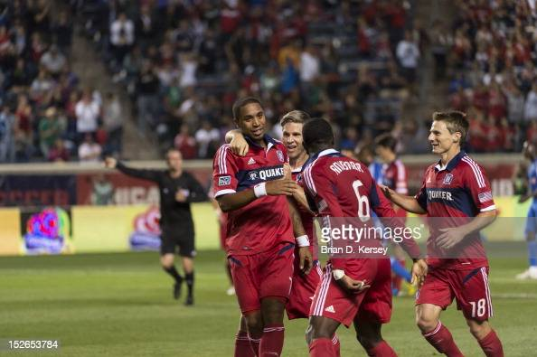 Sherjill MacDonald Logan Pause Jalil Anibaba and Chris Rolfe of Chicago Fire celebrate MacDonald's goal against the Montreal Impact at Toyota Park on...