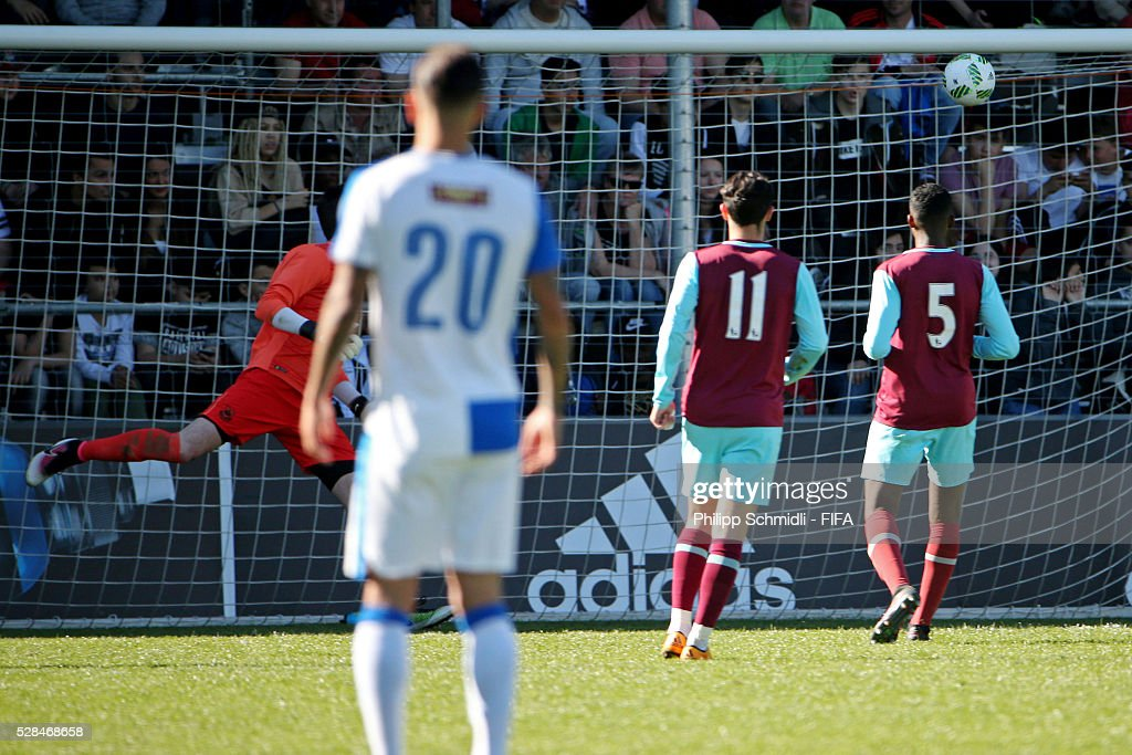 Sherko Gubari of Grasshopper Club Zurich (not pictured) scores his team's opening goal during the FIFA Blue Stars 2016/FIFA Youth Cup final match between Grasshopper Club Zurich and West Ham United FC on May 5, 2016 in Zurich, Switzerland.