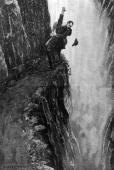 Sherlock Holmes and his nemesis Professor Moriarty about to fall to their deaths at Reichenbach Falls A drawing by Sidney Paget to illustrate the...