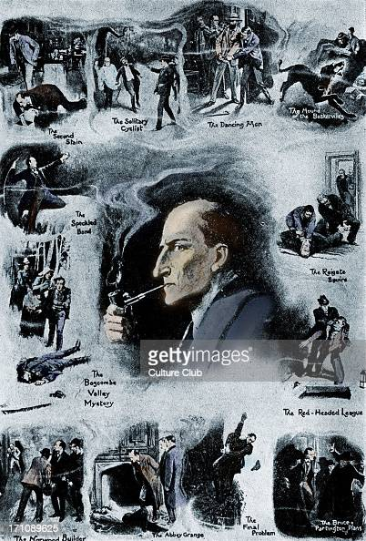 Sherlock Holmes and twelve scenes from his career Illustration by Sidney Paget Scottish author and crime writer 22 May 1859–7 July 1930 Colourised...
