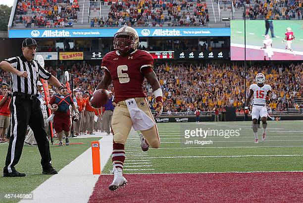 Sherman Alston of the Boston College Eagles runs the ball in a touchdown pass in the first half against the Clemson Tigers at Alumni Stadium on...