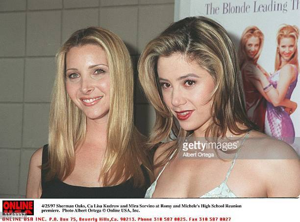 Sherman Oaks CA Lisa Kudrow and Mira Sorvino at the prmeiere of Romy and Michele's High school Reunion