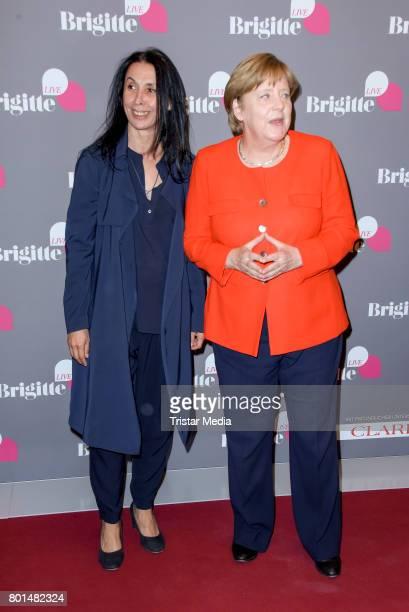 Shermin Langhoff and German chancellor Angela Merkel during the Brigitte Live Conversation on June 26 2017 in Berlin Germany