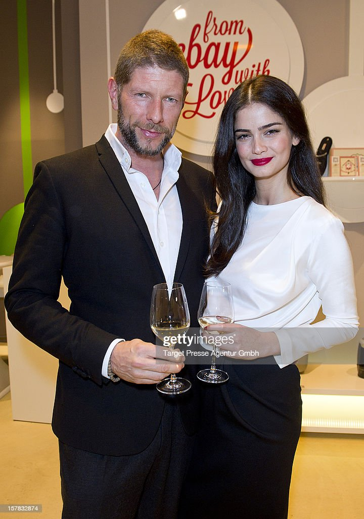 Shermine Shahrivar and her partnert Markus Klosseck attend the Ebay Pop-Up Store opening at Oranienburger Strasse on December 6, 2012 in Berlin, Germany.