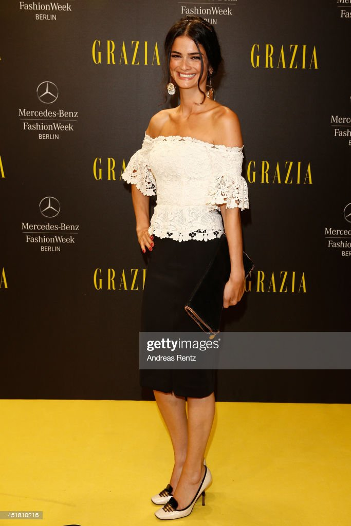 Shermine Shahrivar arrives for the Opening Night by Grazia fashion show during the Mercedes-Benz Fashion Week Spring/Summer 2015 at Erika Hess Eisstadion on July 7, 2014 in Berlin, Germany.