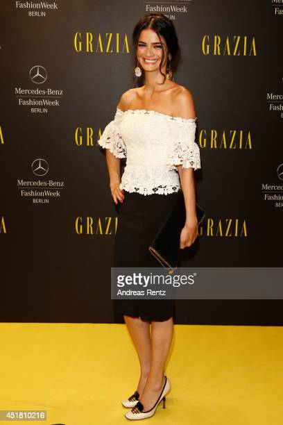 Shermine Shahrivar arrives for the Opening Night by Grazia fashion show during the MercedesBenz Fashion Week Spring/Summer 2015 at Erika Hess...