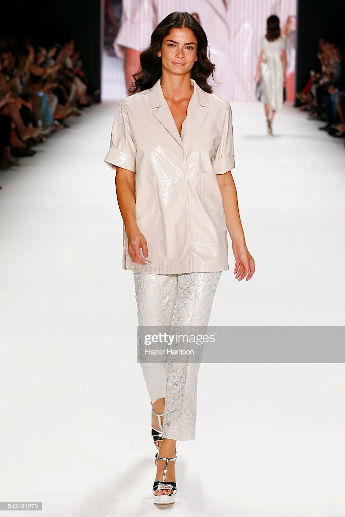 Shermine Sharivar walks the runway at the Riani show during the Mercedes-Benz Fashion Week Berlin Spring/Summer 2017 at Erika Hess Eisstadion on June 28, 2016 in Berlin, Germany.