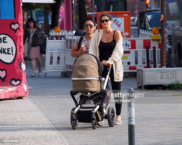 Shermine Shahrivar with friend and baby sighting on September 14 2013 in Berlin Germany