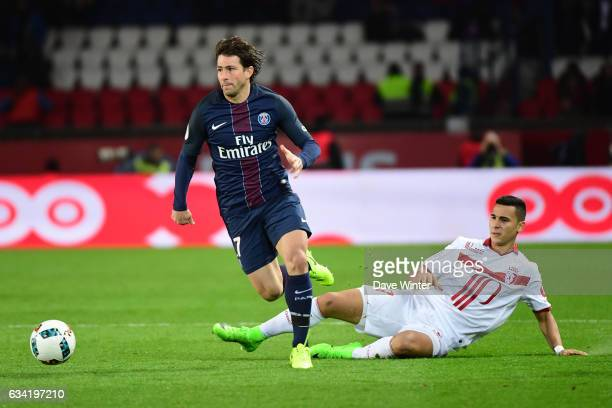 Sherrer Maxwell of PSG and Anwar El Ghazi of Lille during the French Ligue 1 match between Paris Saint Germain and Lille at Parc des Princes on...