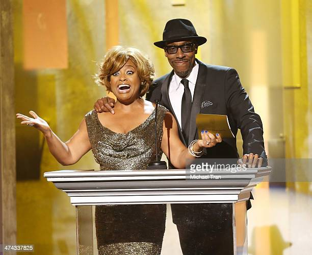 Sherri Shepherd and comedian Arsenio Hall speak onstage during the 45th NAACP Image Awards held at Pasadena Civic Auditorium on February 22 2014 in...