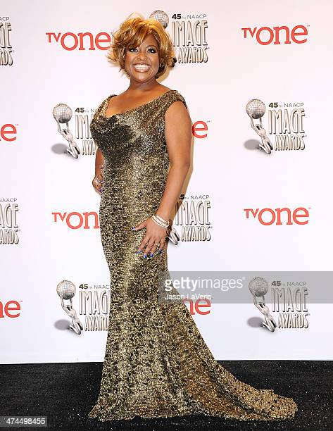 Sherri Shepherd poses in the press room at the 45th NAACP Image Awards at Pasadena Civic Auditorium on February 22 2014 in Pasadena California