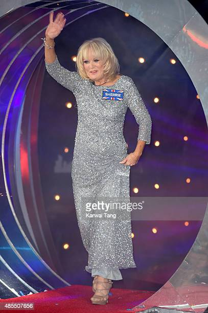 Sherrie Hewson enters the Celebrity Big Brother house at Elstree Studios on August 27 2015 in Borehamwood England