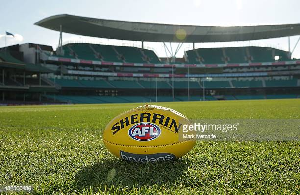 Sherrin AFL ball is seen prior to a Sydney Swans AFL training session at Sydney Cricket Ground on July 30 2015 in Sydney Australia