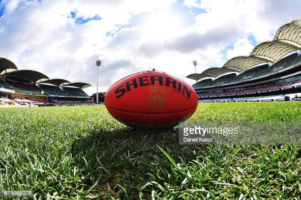 Sherrin football is pictured on Adelaide Oval from the southern end prior to the round 17 AFL match between the Port Adelaide Power and the North...