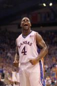 Sherron Collins of the Kansas Jayhawks reacts on the court during the game against the Nebraska Cornhuskers on February 6 2010 at Allen Fieldhouse in...
