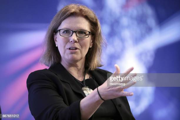 Sherry Coutu founder of Interactive Investor Trading Ltd gestures as she speaks during the International Fintech Conference in London UK on Wednesday...