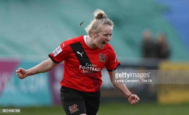 Sherry McCue of Sheffield FC Ladies celebrates scoring during the match between Sheffield FC Ladies and Everton Ladies on March 12 2017 in Sheffield...