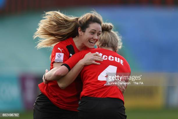 Sherry McCue of Sheffield FC Ladies celebrates scoring with Sophie Jones during the match between Sheffield FC Ladies and Everton Ladies on March 12...