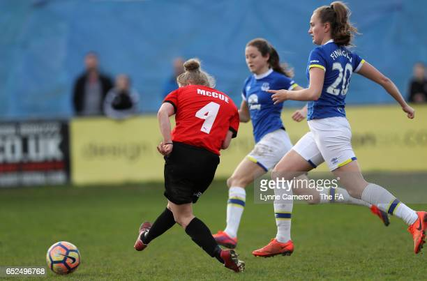 Sherry McCue of Sheffield FC Ladies scores during the match between Sheffield FC Ladies and Everton Ladies on March 12 2017 in Sheffield England