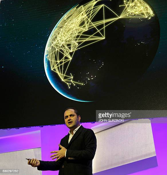 Shervin Pishevar cofounder and Executive Chairman at Hyperloop One talks about the future of transportation on May 10 2016 during a press conference...