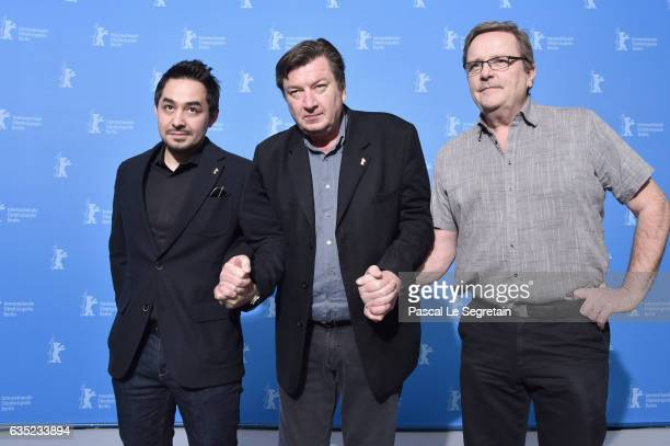 Sherwan Haji Aki Kaurismaki and Sakari Kuosmanen attend the 'The Other Side of Hope' photo call during the 67th Berlinale International Film Festival...