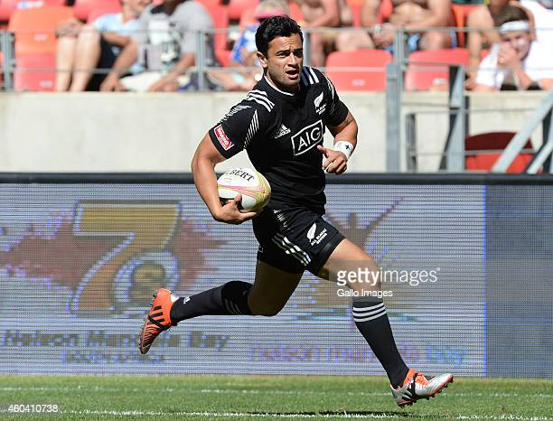Sherwin Stowers of New Zealand runs in for a try during day 1 of the Cell C Nelson Mandela Bay Sevens Series at Nelson Mandela Bay Stadium on...