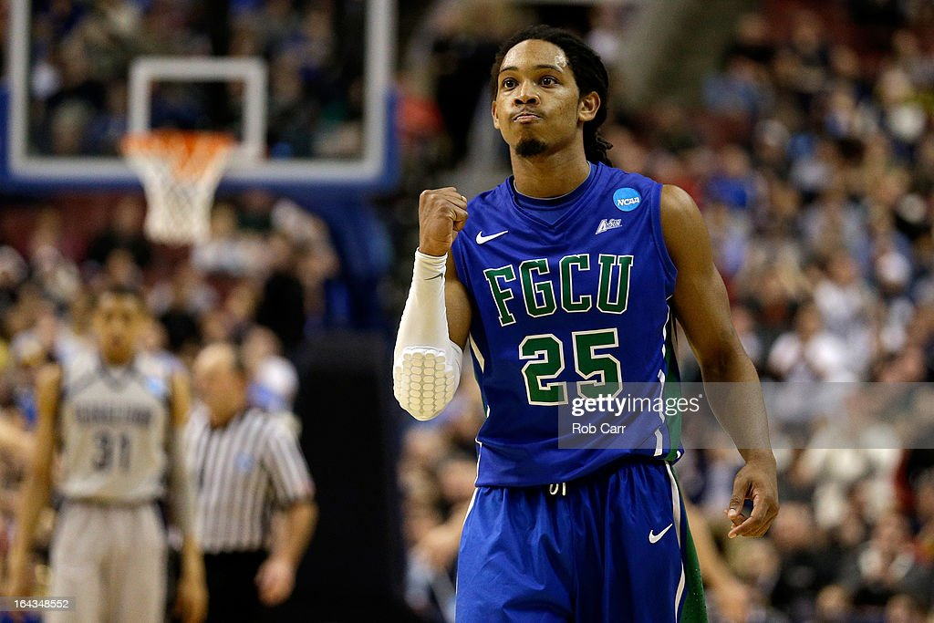 Sherwood Brown #25 of the Florida Gulf Coast Eagles celebrates late in the second half against the Georgetown Hoyas during the second round of the 2013 NCAA Men's Basketball Tournament at Wells Fargo Center on March 22, 2013 in Philadelphia, Pennsylvania.