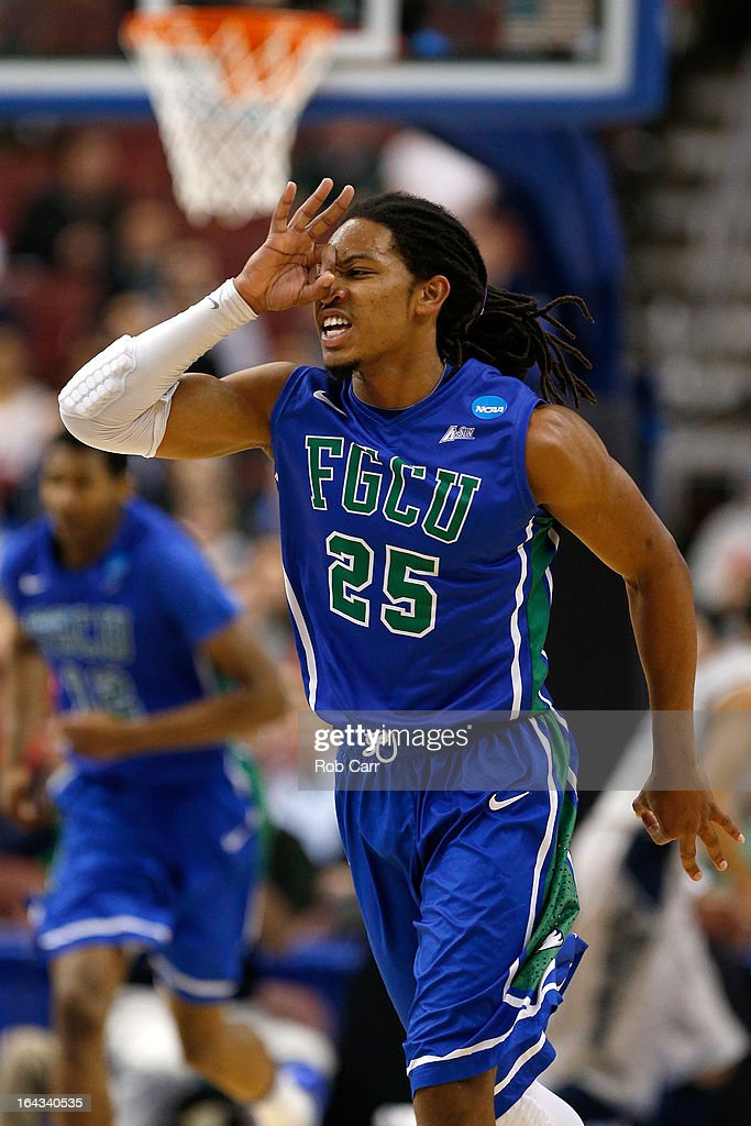 Sherwood Brown #25 of the Florida Gulf Coast Eagles reacts after he made a 3-point basket in the first half against the Georgetown Hoyas during the second round of the 2013 NCAA Men's Basketball Tournament at Wells Fargo Center on March 22, 2013 in Philadelphia, Pennsylvania.