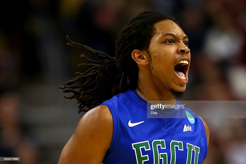 Sherwood Brown #25 of the Florida Gulf Coast Eagles reacts in the second half against the Georgetown Hoyas\ during the second round of the 2013 NCAA Men's Basketball Tournament at Wells Fargo Center on March 22, 2013 in Philadelphia, Pennsylvania.