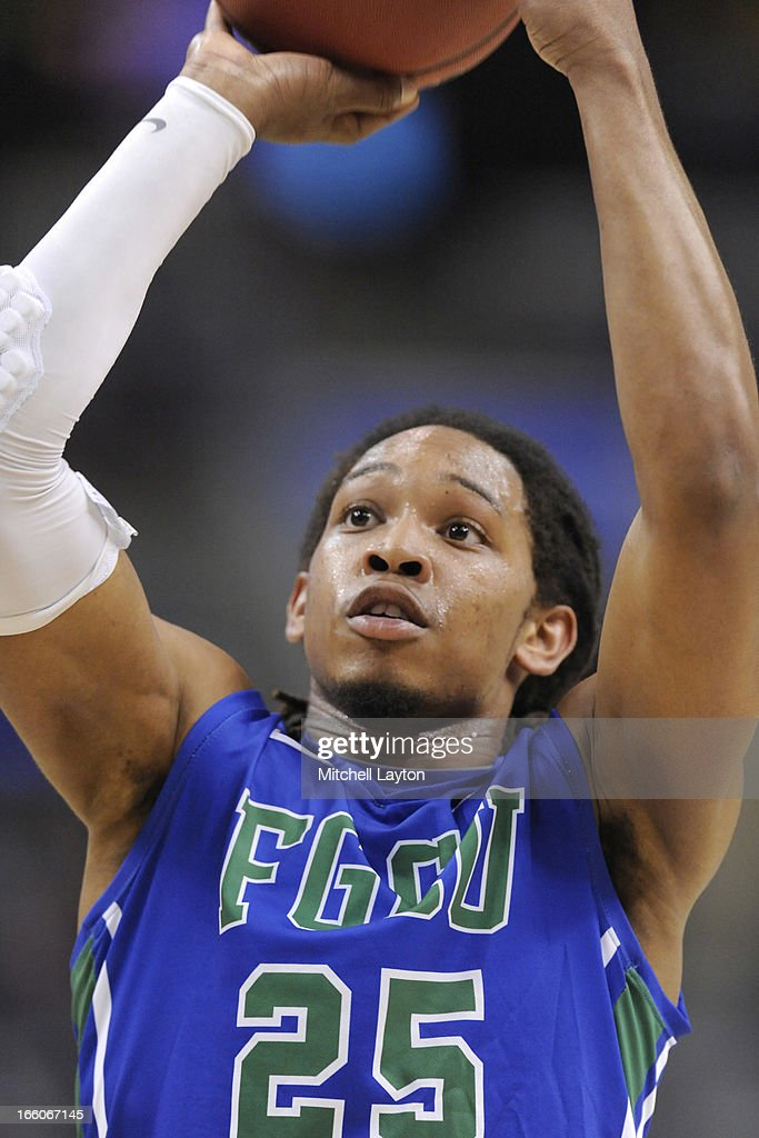 Sherwood Brown #25 of the Florida Gulf Coast Eagles takes a foul shot during the second round of the 2013 NCAA Men's Basketball Tournament game against the Georgetown Hoyas on March 22, 2013 at Wells Fargo Center in Philadelphia, Pennsylvania. The Eagles won 78-68.