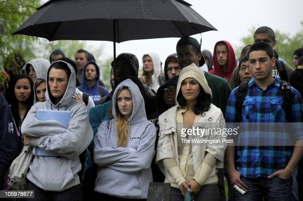 Sherwood High school seniors from left Danielle Grimmer Maxine Yuffee Ilenna Gama and Cyrus Sohrab grimly watch a renactment of a fatal drunk driving...