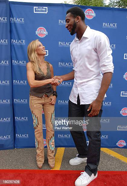 Sheryl Crow and Detroit Piston Andre Drummond attend the Palace Sports and Entertainment's Come Together Celebration concert at the DTE Energy Music...