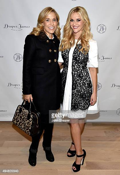 Sheryl Crow and Reese Witherspoon attend the Draper James Nashville store opening on October 28 2015 in Nashville Tennessee