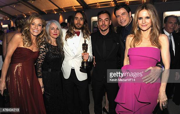 Sheryl Crow Constance Leto Jared Leto John Travolta and Kelly Preston attend the 2014 Vanity Fair Oscar Party Hosted By Graydon Carter on March 2...