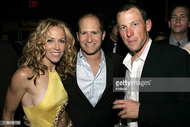 Sheryl Crow Lance Armstrong and guest during Universal Music Group 2005 PostGRAMMY Party at The Palms Restaurant in Los Angeles California United...