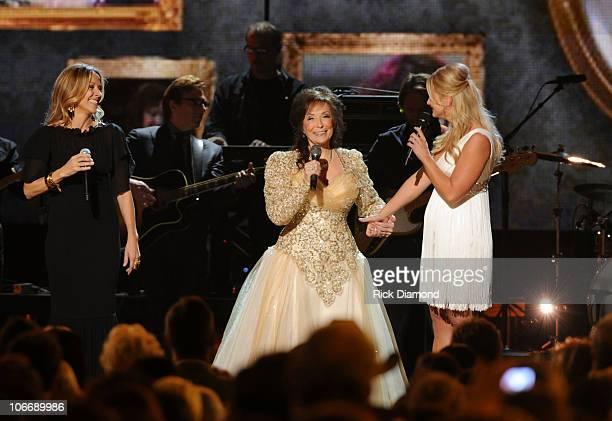 Sheryl Crow Loretta Lynn and Miranda Lambert perform 'Coal Miner's Daughter' at the 44th Annual CMA Awards at the Bridgestone Arena on November 10...