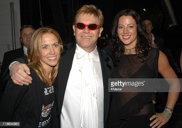 Sheryl Crow Sir Elton John and Sarah McLachlan during The Andre Agassi Charitable Foundation's 8th 'Grand Slam for Children' Fundraiser Backstage at...