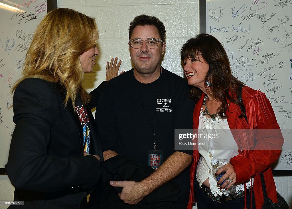 Sheryl Crow, Vince Gill, and Jessi Colter backstage during Keith Urban's Fourth annual We're All For The Hall benefit concert at Bridgestone Arena on April 16, 2013 in Nashville, Tennessee.