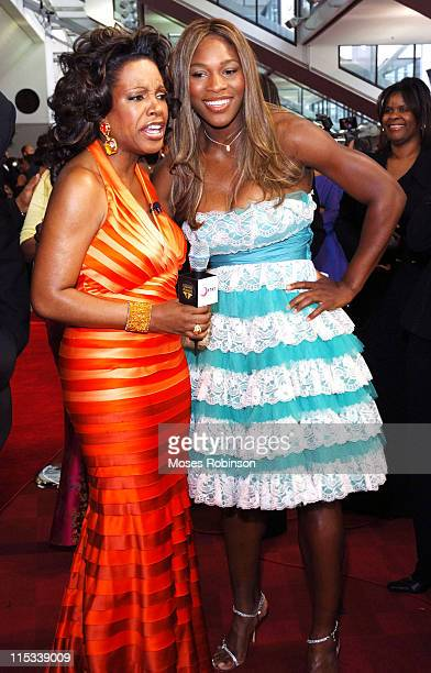 Sheryl Lee Ralph and Serena Williams during Trumpet Awards 2005 Arrivals at Georgia World Congress Center in Atlanta Georgia United States