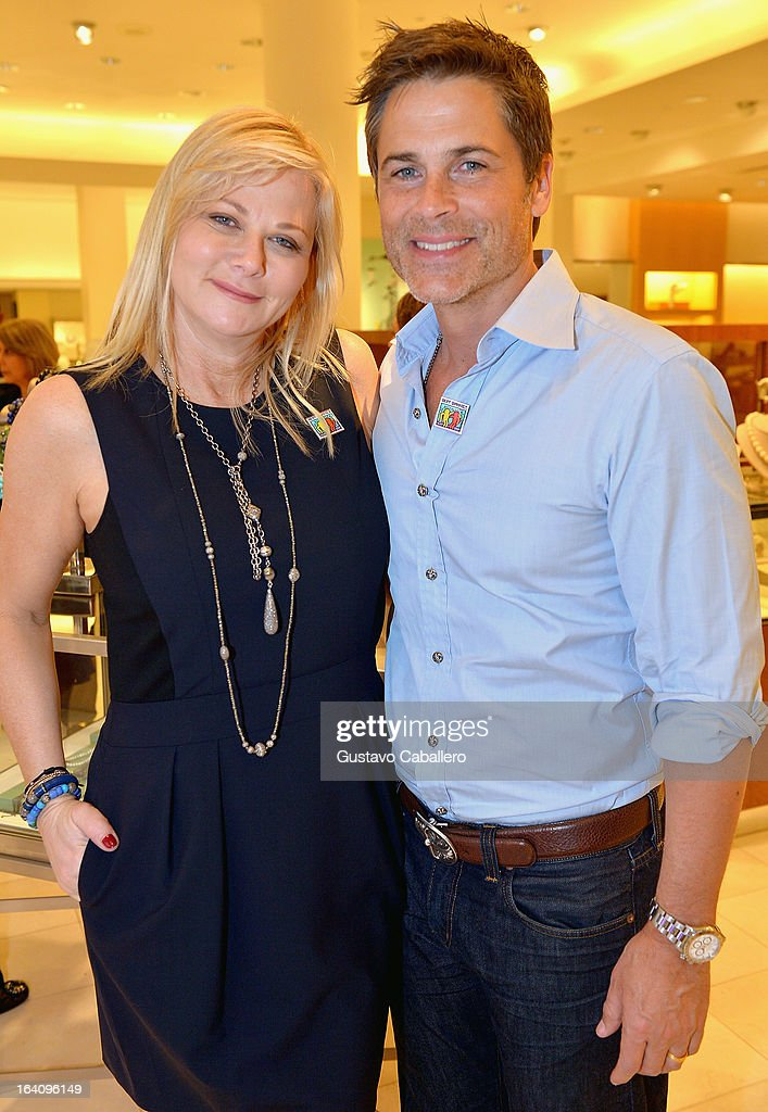 Sheryl Lowe and <a gi-track='captionPersonalityLinkClicked' href=/galleries/search?phrase=Rob+Lowe&family=editorial&specificpeople=211607 ng-click='$event.stopPropagation()'>Rob Lowe</a> attend the Sheryl Lowe Jewelry Design event at Neiman Marcus on March 19, 2013 in Coral Gables, Florida.