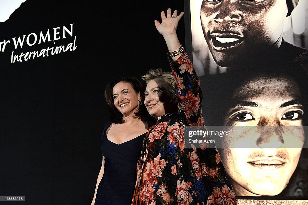 <a gi-track='captionPersonalityLinkClicked' href=/galleries/search?phrase=Sheryl+Sandberg&family=editorial&specificpeople=5922850 ng-click='$event.stopPropagation()'>Sheryl Sandberg</a> and <a gi-track='captionPersonalityLinkClicked' href=/galleries/search?phrase=Hillary+Clinton&family=editorial&specificpeople=76480 ng-click='$event.stopPropagation()'>Hillary Clinton</a> onstage at the Women for Women 20th Anniversary Gala celebration at the American Museum of Natural History on December 3, 2013 in New York City.