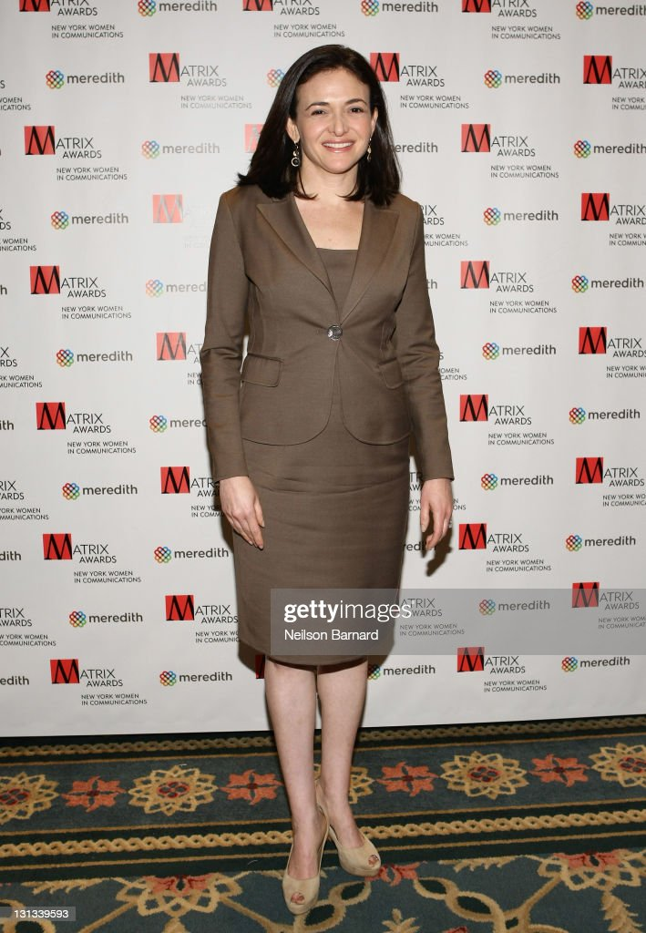 <a gi-track='captionPersonalityLinkClicked' href=/galleries/search?phrase=Sheryl+Sandberg&family=editorial&specificpeople=5922850 ng-click='$event.stopPropagation()'>Sheryl Sandberg</a>, Chief Operating Officer Facebook attends the 2011 Matrix Awards at The Waldorf Astoria on April 11, 2011 in New York City.